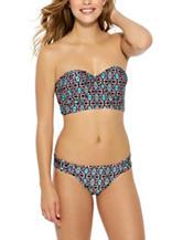 Hot Water Aztec Print Midkini Swim Top