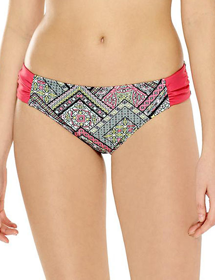 Hot Water Black / Coral Swimsuit Bottoms Hipster