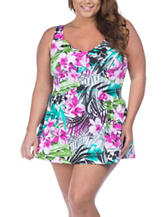 Maxine of Hollywood Plus-size Tropic Print One Piece Swimsuit