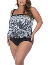 Maxine of Hollywood Plus-size Tropic Tribal Bandeau One Piece Swimsuit