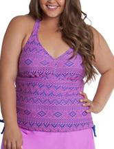 Malibu Juniors-plus Orchid Beat Crochet Halterkini Swim Top