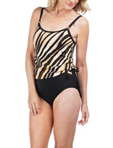 Maxine of Hollywood Tiger Print One Piece Swimsuit