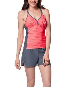 Free Country Coral Striped T-Back Tankini Swim Top