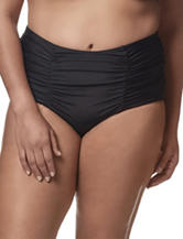 In Mocean Junior-plus Black Shirred High Waist Swim Bottoms