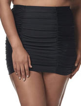 In Mocean Juniors-plus Black Ruched Skirtini Swim Bottoms