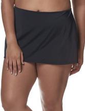 Southpoint Plus-size Black Skirtini Swim Bottoms