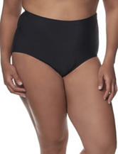 Penbrooke Plus-size Solid Color Black Brief Swim Bottoms