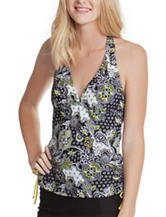 Polka Dot Black & Yellow Paisley Print Side Shirred Halterkini Swim Top