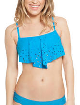 Polka Dot XOXO Laser Cut Flounce Swim Top