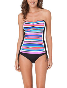 Cole of California Black Stripe Swimsuit Tops Tankini