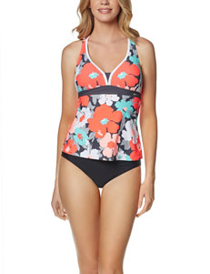 Zero Xposur Black Floral Swimsuit Tops Tankini