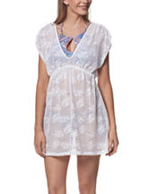 Miken Floral Crochet Knit Swim Cover Up