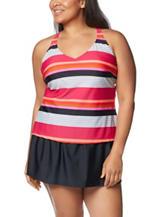 Southpoint Plus-size Mare Striped Tankini Swim Top