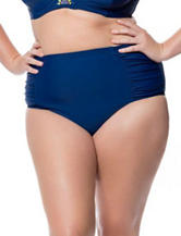 Jessica Simpson Plus-size Shirred Hi-waist Swim Bottoms