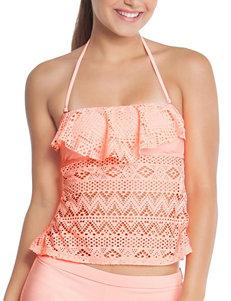 Polka Dot Light Orange Swimsuit Tops Bandeau Tankini