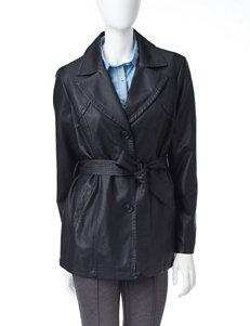 Valerie Stevens Faux Leather Trench Coat