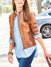Valerie Stevens Faux Leather Moto Jacket