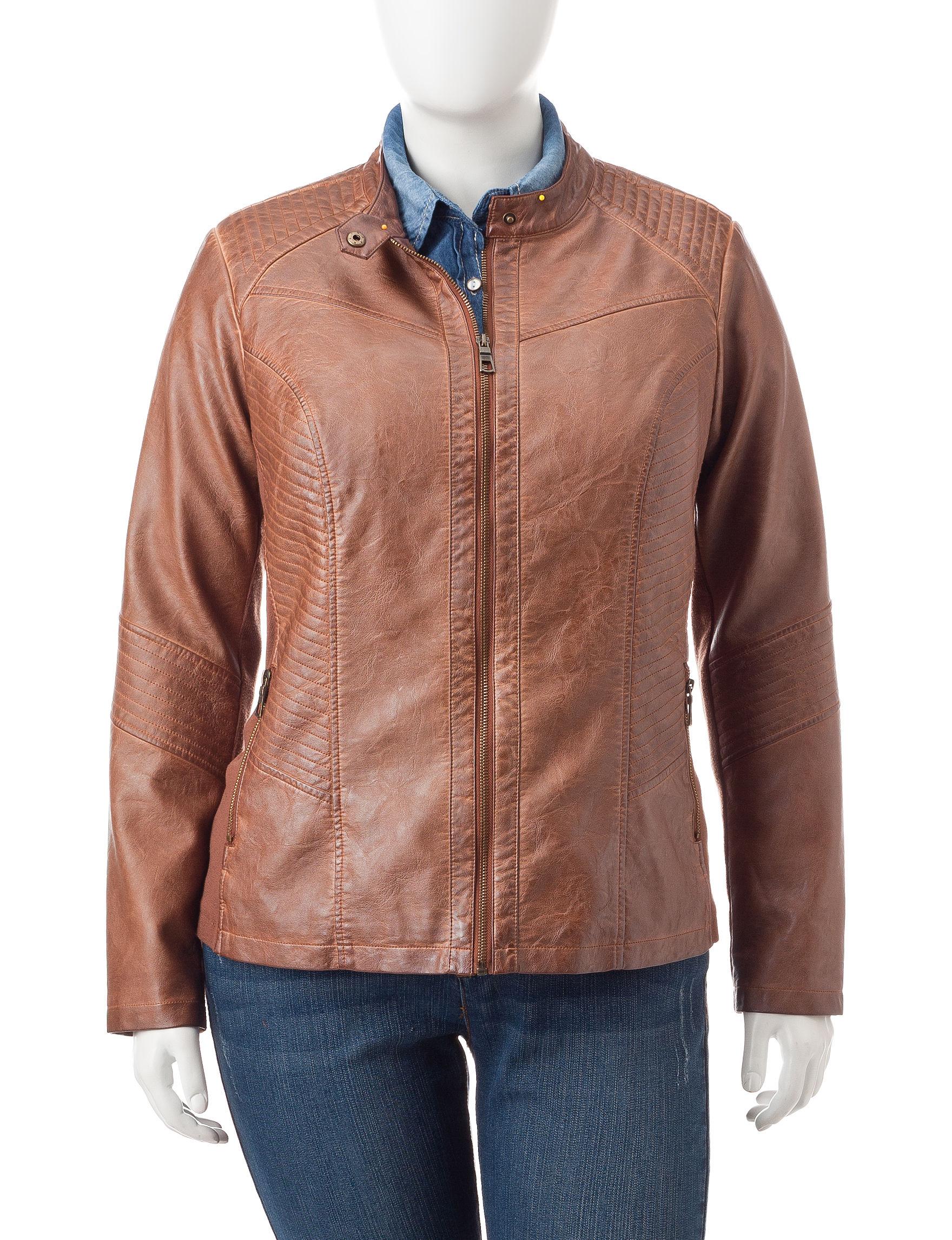Valerie Stevens Medium Brown Bomber & Moto Jackets
