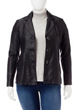 Valerie Stevens Plus-size Faux Leather Blazer