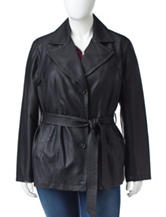Valerie Stevens Plus-size Faux Leather Trench Coat