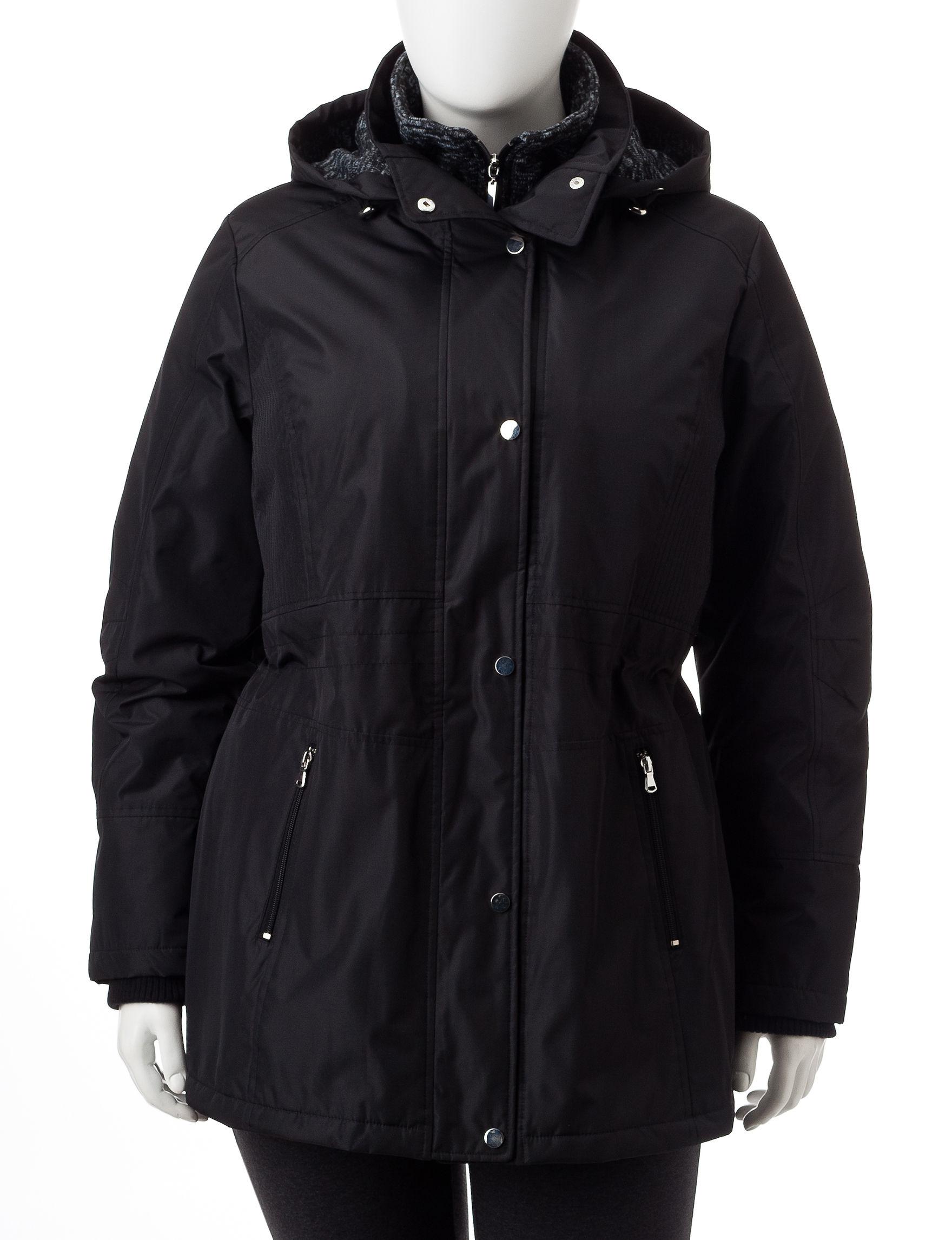 Valerie Stevens Black Rain & Snow Jackets