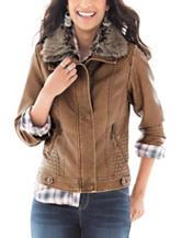 Signature Studio Faux Fur Collar Bomber Jacket