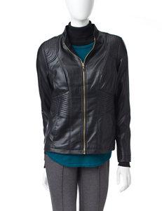 Valerie Stevens Scuba Waist Faux Leather Jacket