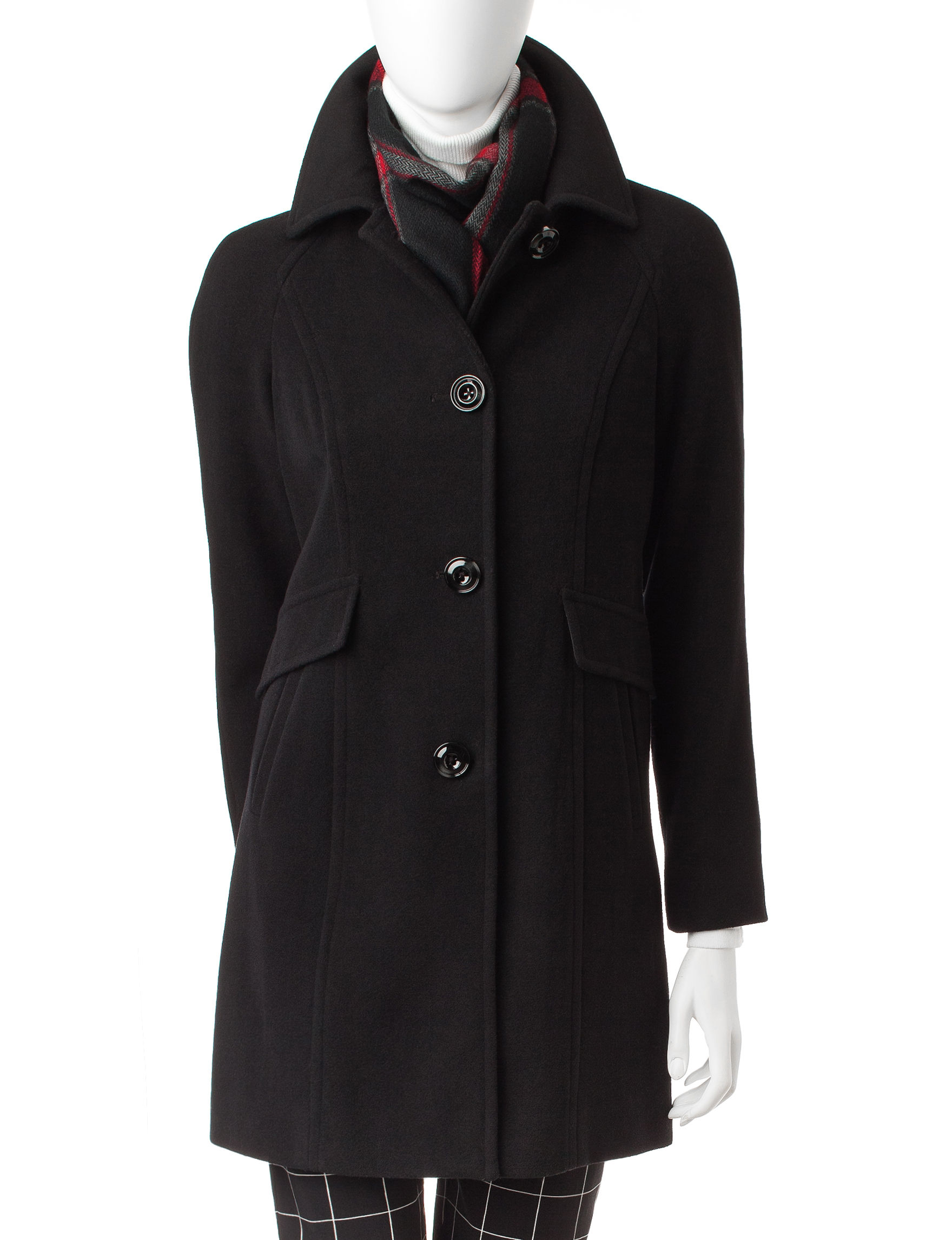 London Fog Black Peacoats & Overcoats