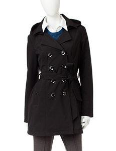 Sebby Collection Black Peacoats & Overcoats