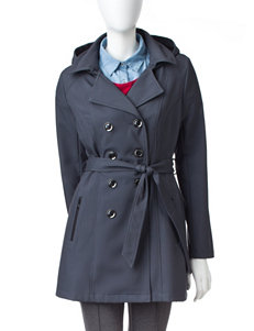 Sebby Collection Soft Shell Belted Pin Check Trench Coat