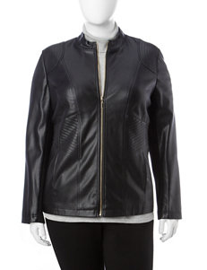 Valerie Stevens Plus-size Black Faux Leather Moto Jacket
