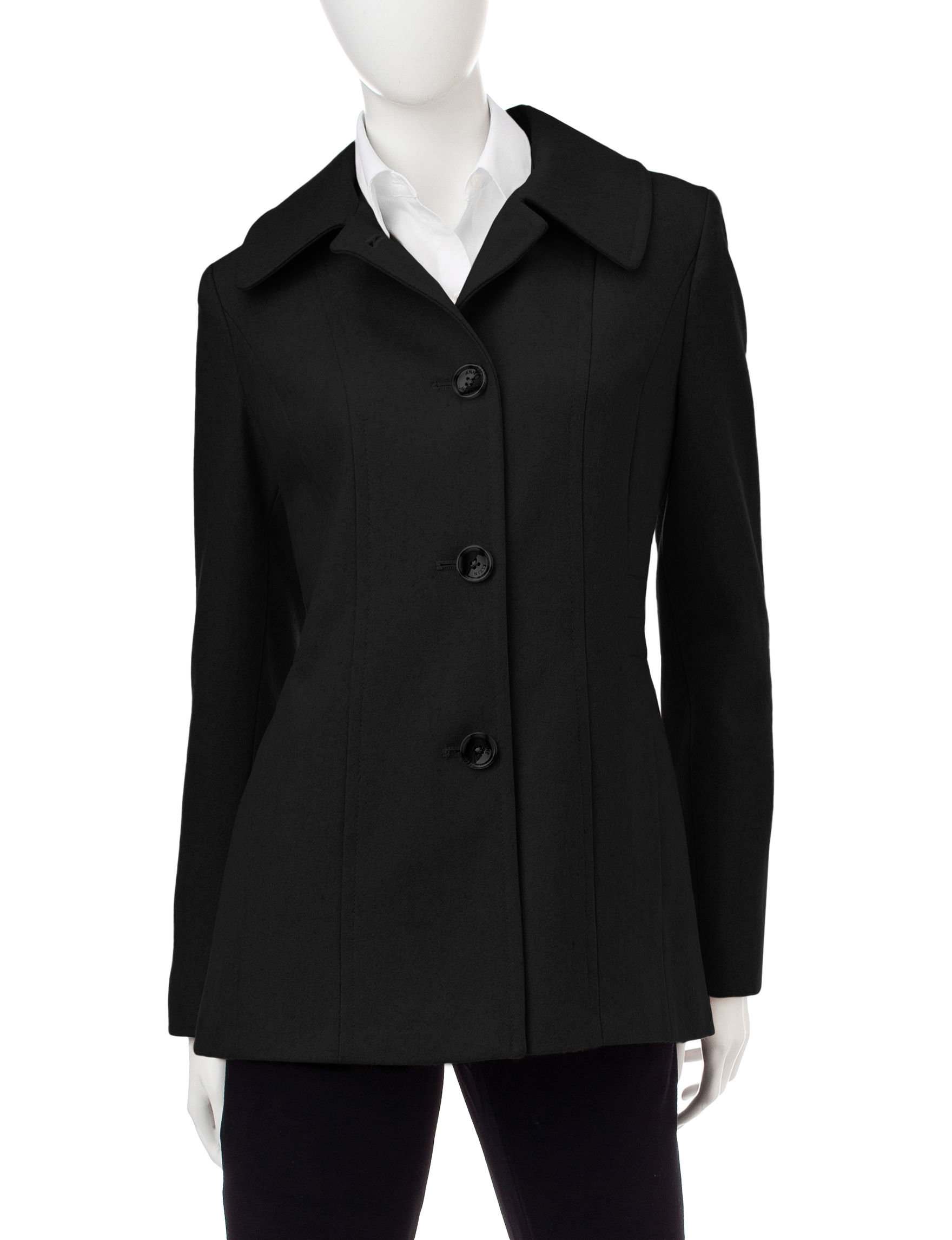 Anne Klein Black Peacoats & Overcoats