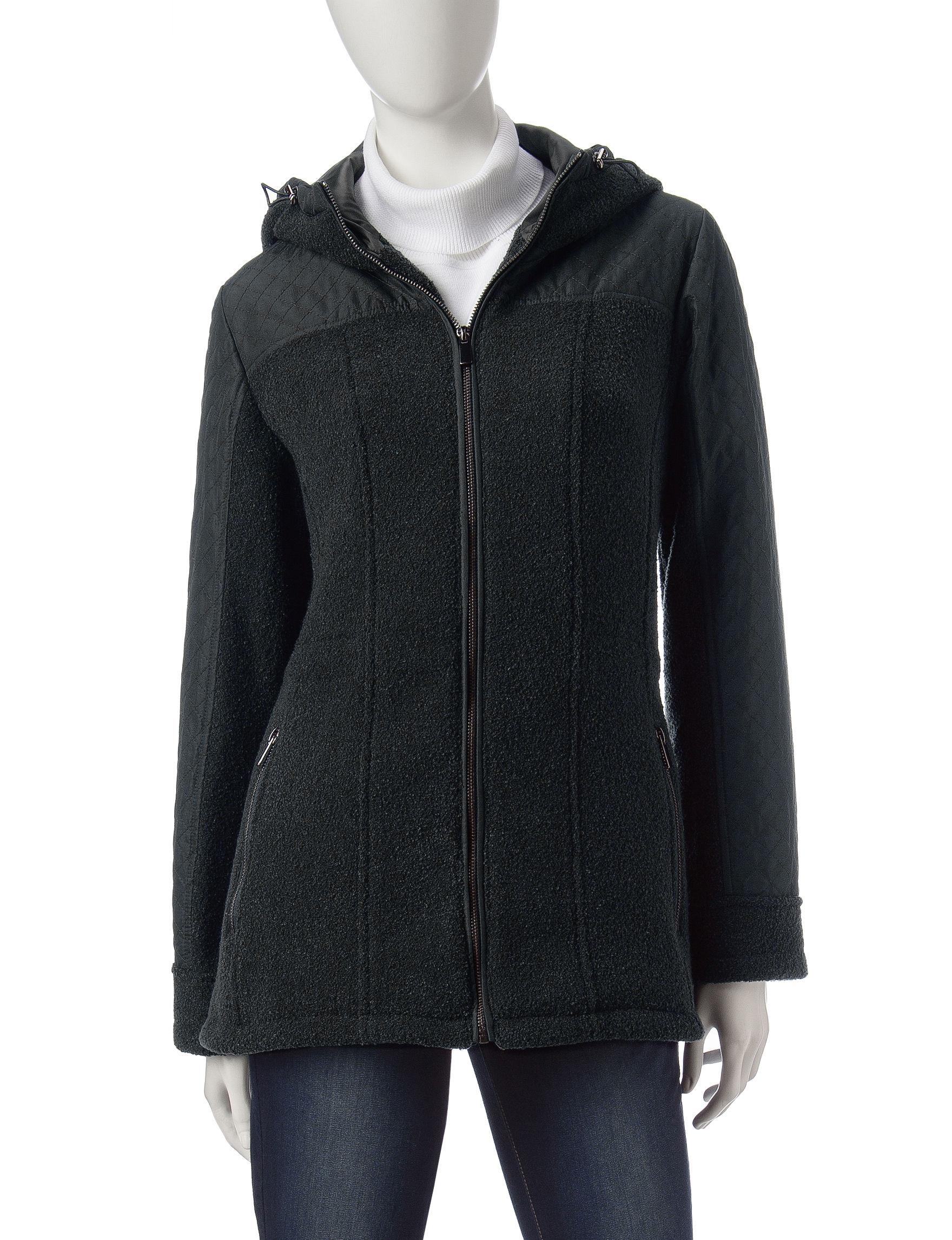Valerie Stevens Black Puffer & Quilted Jackets