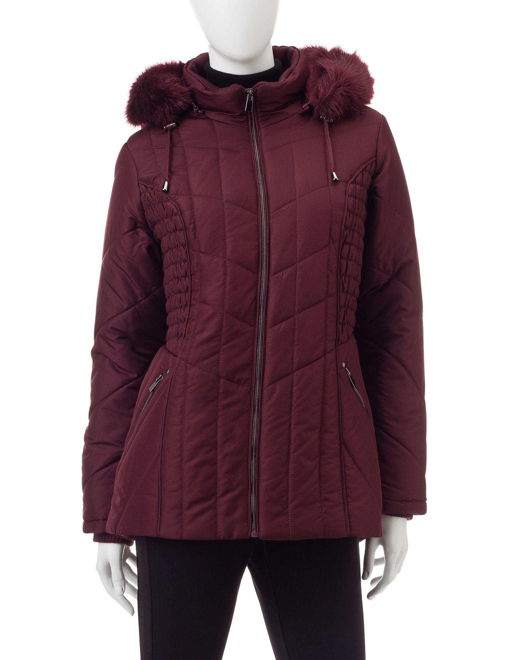 Valerie Stevens Purple Puffer & Quilted Jackets