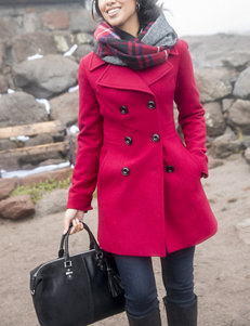 Anne Klein Red Peacoats & Overcoats