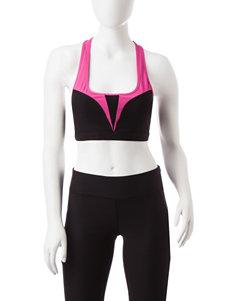 Steve Madden Pink & Black Color Block Sports Bra