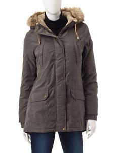 Valerie Stevens Grey Faux Fur Lined Hooded Parka