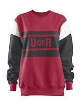 Arkansas Razorbacks Red Black & White Color Block Leona Top