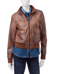 Sebby Collection Light Brown Bomber & Moto Jackets