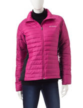Colombia Pink & Black Color Block Quilted Puffer Coat