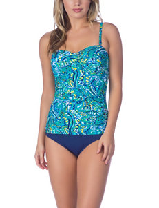Chaps Paisley Bandeau One-Piece Swimsuit
