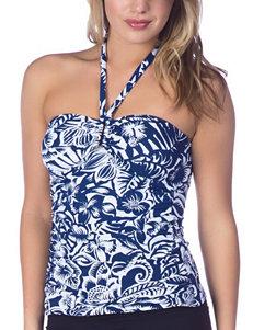 Chaps Dark Blue Swimsuit Tops Bandeau