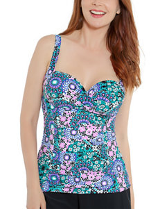 Beach Diva Black / Teal Swimsuit Tops Tankini