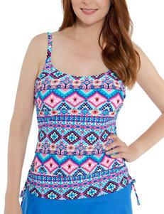 Beach Diva Blue Multi Swimsuit Tops Tankini