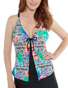 Beach Diva Black Multi Swimsuit Tops Tankini