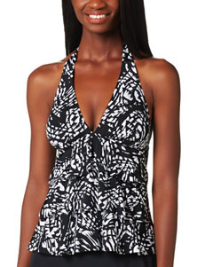 Caribbean Joe Tiered Halter Tiered Tankini Top