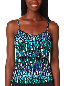 Caribbean Joe Multicolor Abstract Print Tiered Bikini Top