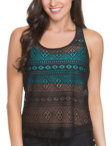 Splashletics Black / Teal Swimsuit Tops Tankini