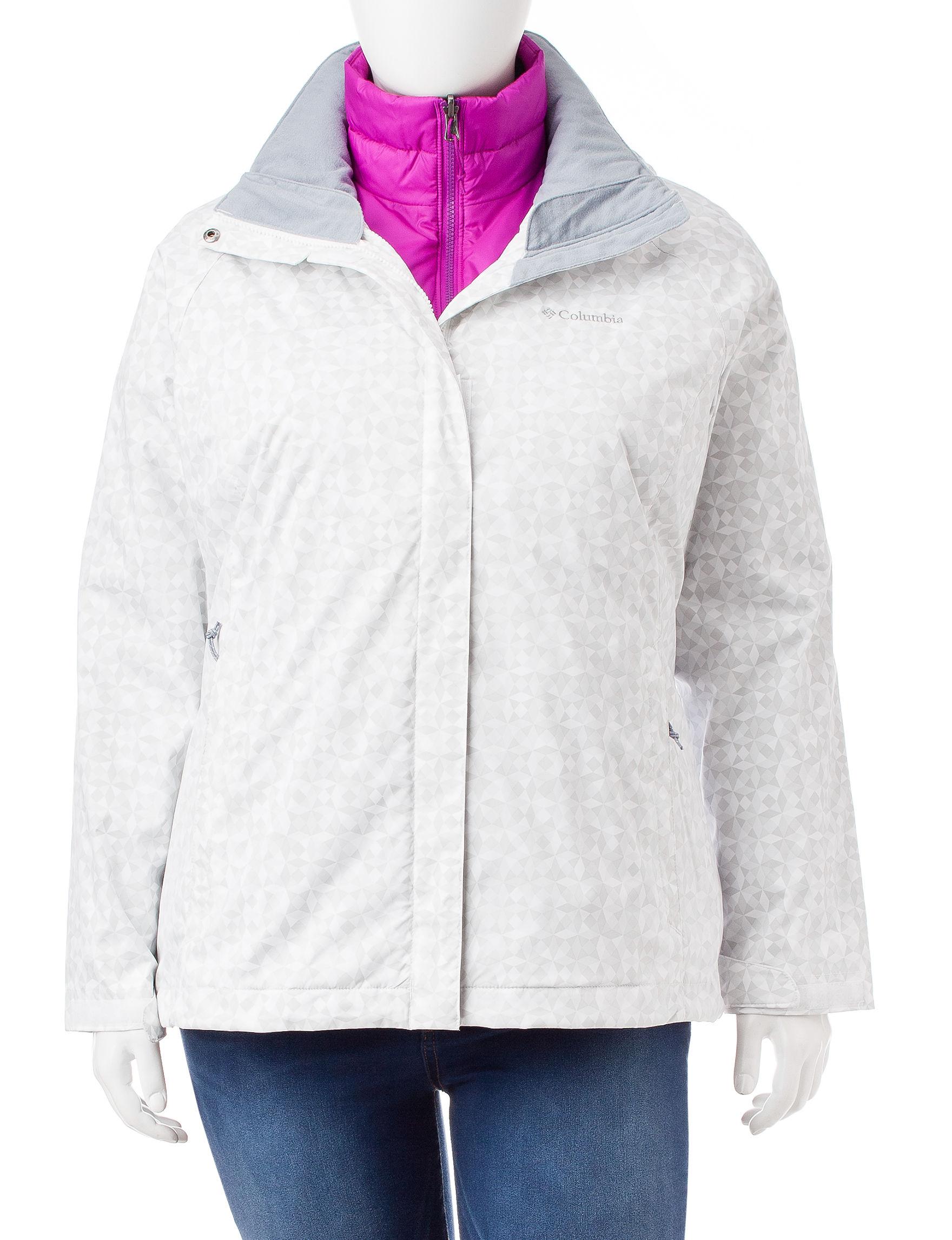 Columbia White / Grey Rain & Snow Jackets