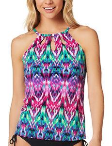 Caribbean Joe Multicolor Ikat Print Tankini Swim Top